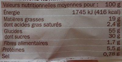 Barre marbre chocolat - Informations nutritionnelles