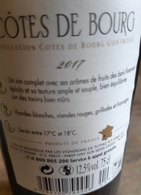 Côtes de Bourg A.O.C. 2017 - Ingredients