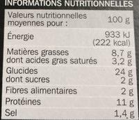 Pizza italienne jambon cuit et mozzarella - Nutrition facts