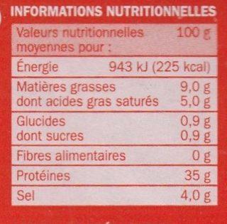 Lomo Espagnol - Informations nutritionnelles