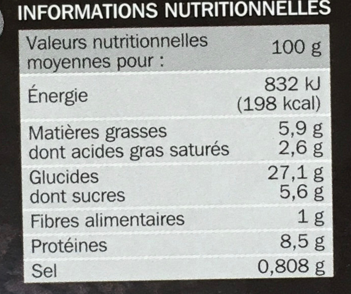 Pizza calzone royale - Informations nutritionnelles - fr