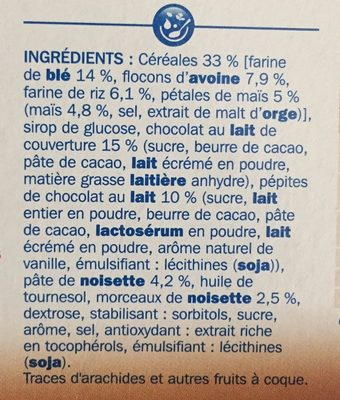 Barres céréales chocolat au lait noisette x 6 - Ingredients