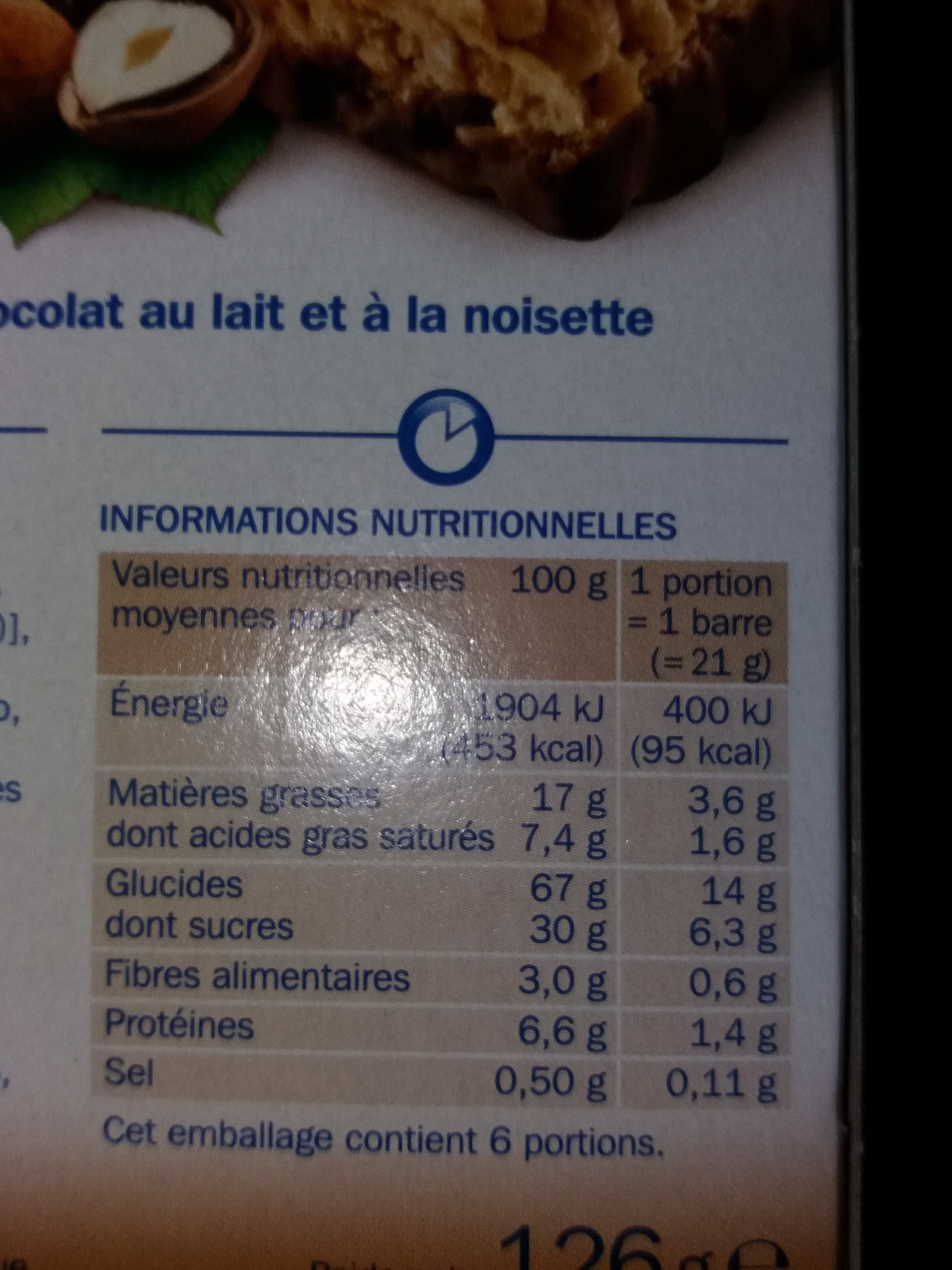 Barres céréales chocolat au lait noisette x 6 - Nutrition facts