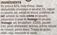 Risotto déshydraté aux cèpes - Ingrédients