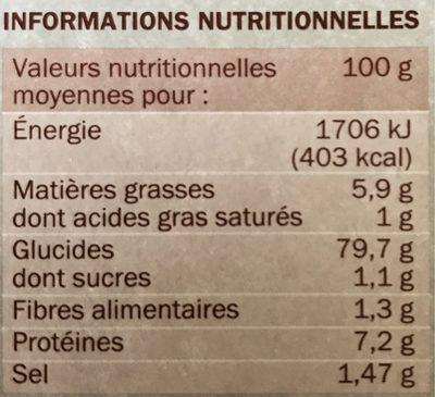 Risotto déshydraté aux cèpes - Informations nutritionnelles