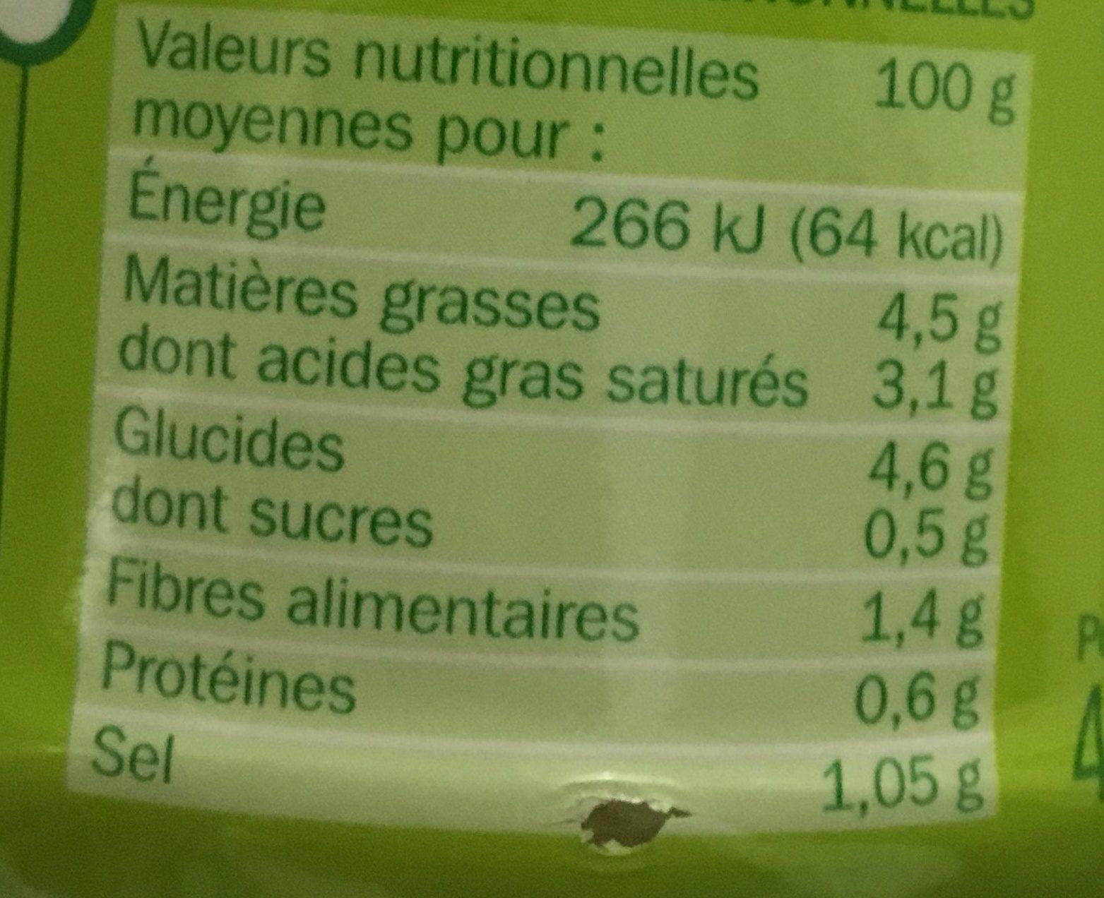 Sauce risotto champignons - Informations nutritionnelles - fr