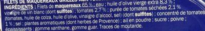 Filets de maquereaux grillés tomate et herbes de Provence - Inhaltsstoffe - fr