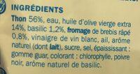 Préparation salade aux morceaux de thon huile d'olive et basilic - Ingrédients - fr