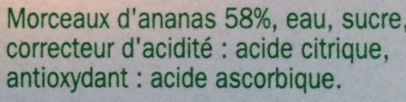 Coupelles ananas 4x70g pne - Ingrédients - fr