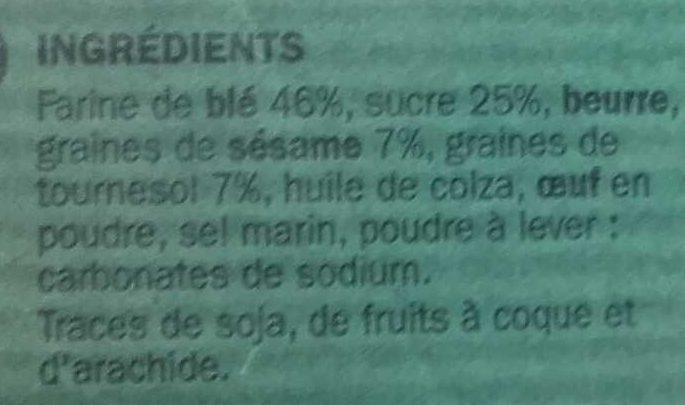 Biscuits aux graines de sésame et tournesol - Ingrediënten - fr