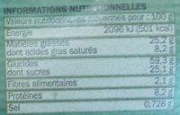 Biscuits aux graines de sésame et tournesol - Voedingswaarden - fr