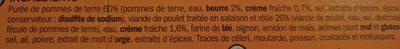 Poulet rôti et purée de pommes de terre - barquette - Ingrédients - fr
