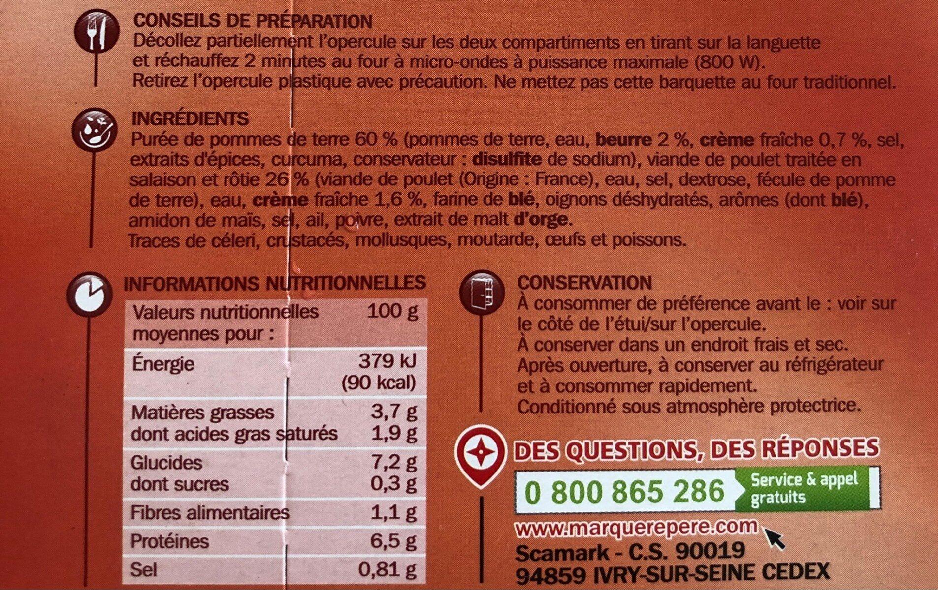 Poulet rôti et purée de pommes de terre - barquette - Informations nutritionnelles - fr