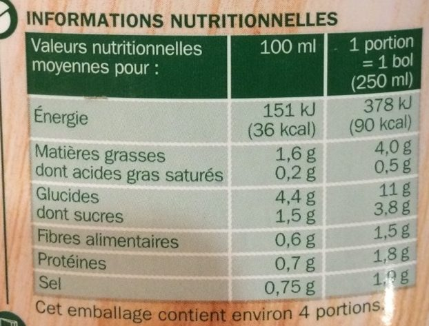 Velouté potiron fromage fondu - Nutrition facts - fr