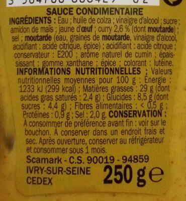 Sauce curry - flacon - Ingrédients