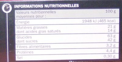 Fleur de framboise au chocolat noir - Nutrition facts