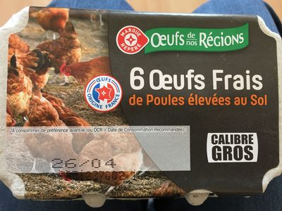 Oeufs frais de poules élevées au sol calibre gros x 6 - Product
