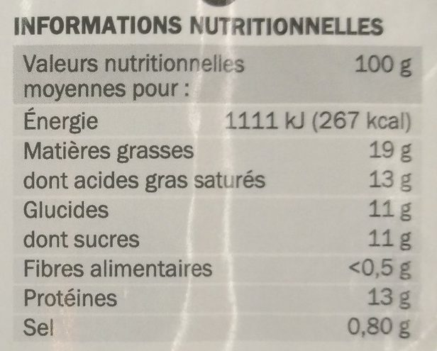 Billes de chèvre fourrées figue x 16 - Voedingswaarden