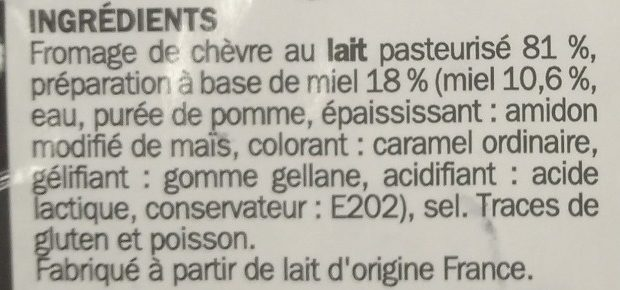 Billes de chèvre fourrées miel x 16 - Ingrédients - fr