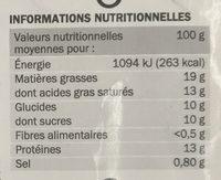 Billes de chèvre fourrées miel x 16 - Informations nutritionnelles - fr