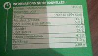 Déli Matin Pépites de Chocolat - Informations nutritionnelles