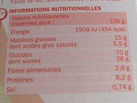 Biscuits petit déjeuner Déli-Matin goût noisette et chocolat - Voedingswaarden - fr