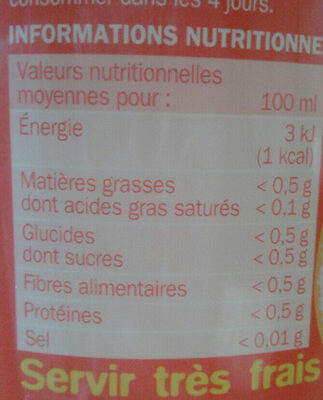 Soda agrumes zéro - Informations nutritionnelles - fr