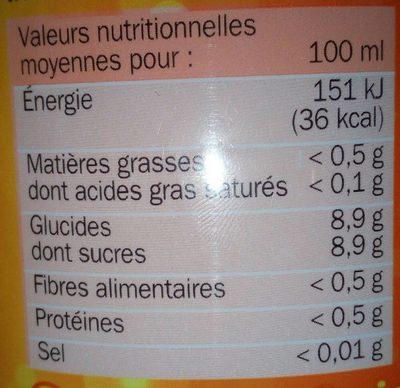 Soda orange - Informations nutritionnelles