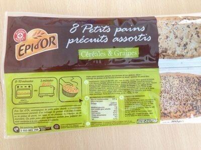 Petits pains céréales et graines de pavot précuits x 8 - Prodotto - fr