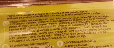 Petits pains céréales et graines de pavot précuits x 8 - Ingrediënten - fr
