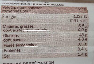 Petits pains céréales et graines de pavot précuits x 8 - Valori nutrizionali - fr