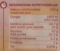 6 Gaufres saupoudrées, aux œufs frais - Informations nutritionnelles