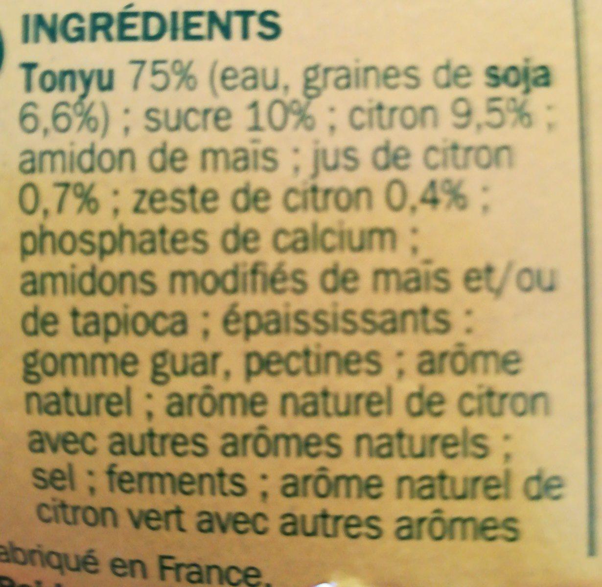Spécialité au soja citron - Ingredients - fr