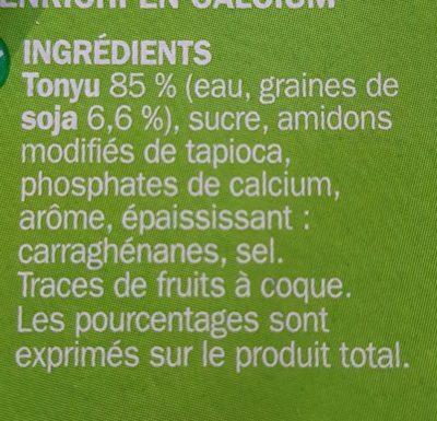 Spécialité au soja caramel - Ingrédients - fr