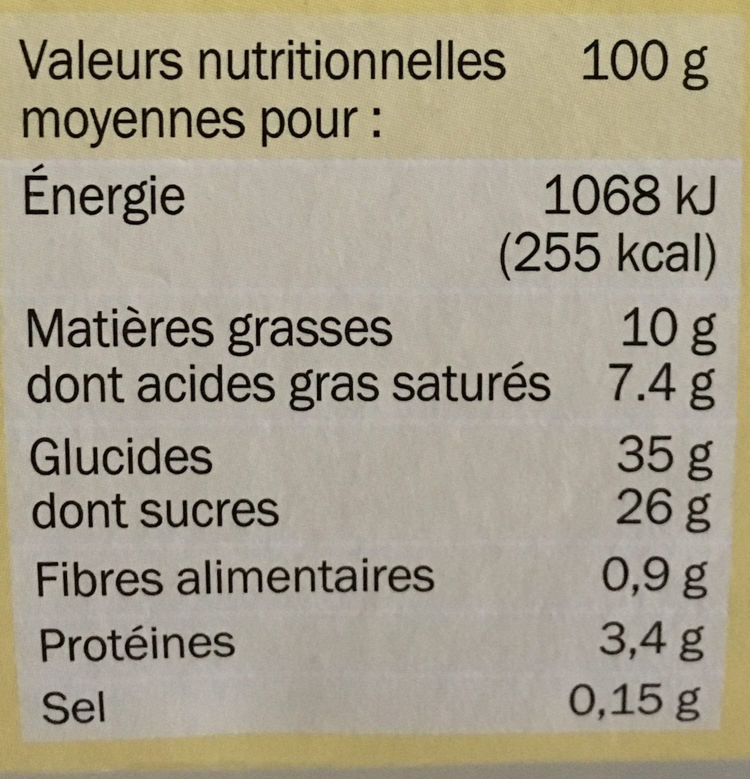 Tiramisu Citron - Informations nutritionnelles
