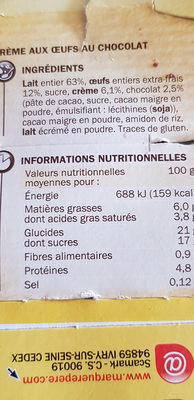 Crème aux oeufs au chocolat - Informations nutritionnelles - fr