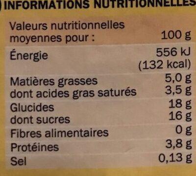 Ppc saveur praline - Nutrition facts