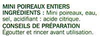 Mini Poireaux - Ingrédients