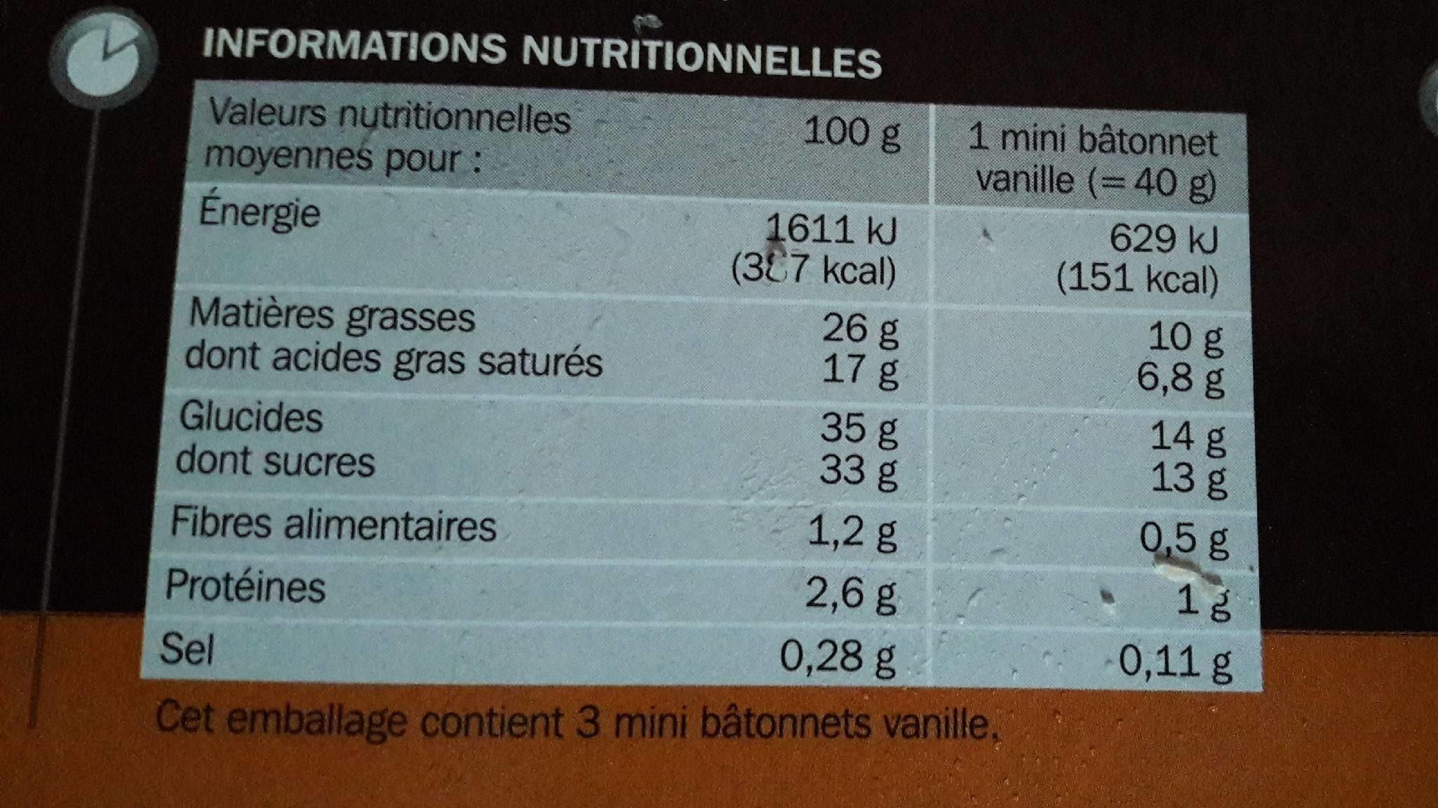 Mini trium vanille ou chocolat double enrobage x 6 - Nutrition facts - fr