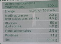 Tagliatelles - Voedingswaarden - fr