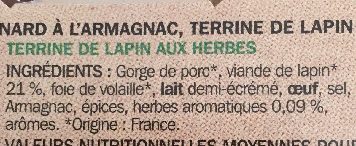 Assortiment de 3 terrines : campagne, canard à l'Armagnac et lapin aux herbes - Ingredients