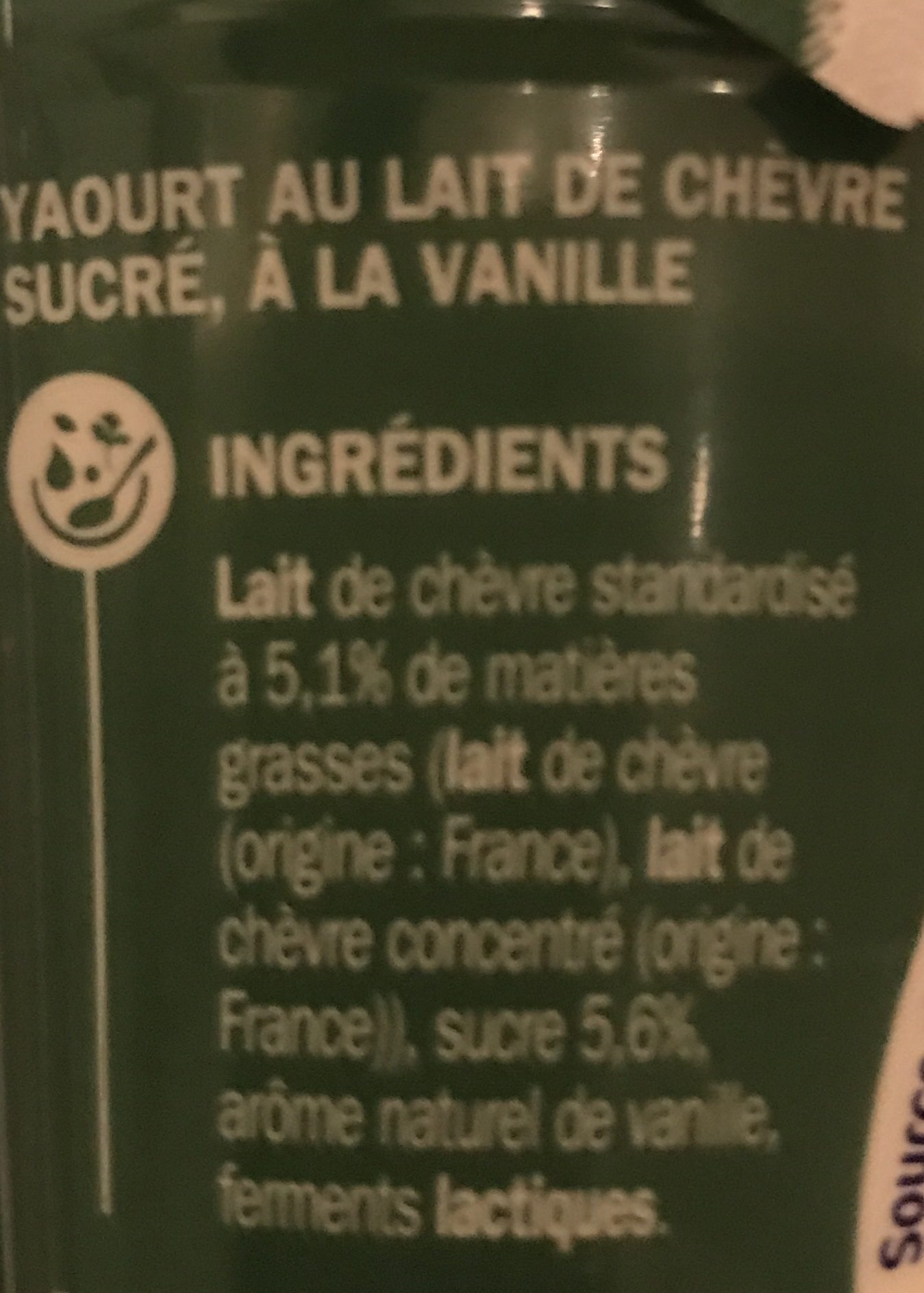 Yaourt au lait de chèvre vanille - Ingrediënten