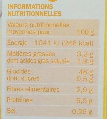 Riz Basmati & 2 Quinoa - Informations nutritionnelles