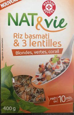 Riz Basmati   3 Lentilles Nat Vie   calories et informations ... b6b837b8a29