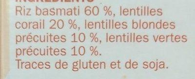 Mélange riz basmati et 3 lentilles - Ingrediënten