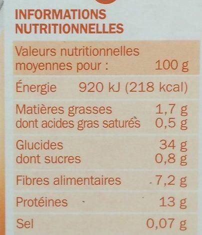 Mélange riz basmati et 3 lentilles - Voedingswaarden