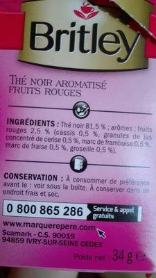 Thé noir fruits rouges x 20 sachets - Ingrédients