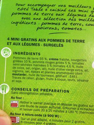 Mini gratins aux pommes de terre et aux légumes du soleil x 4 - Ingrédients - fr