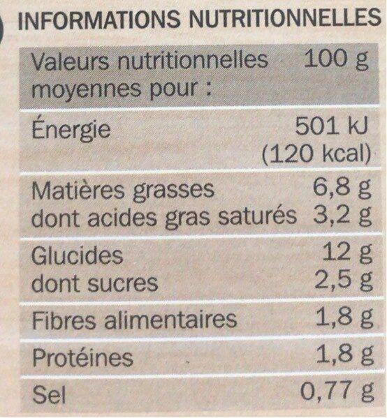 Mini gratins aux pommes de terre et aux légumes du soleil x 4 - Informations nutritionnelles - fr