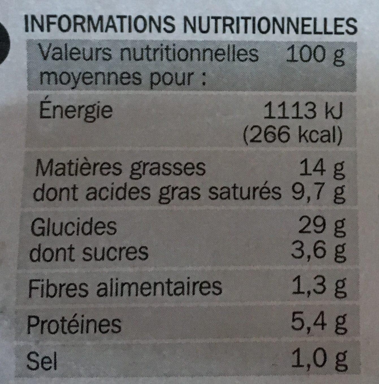 Roulés au fromage x 2 - Valori nutrizionali - fr